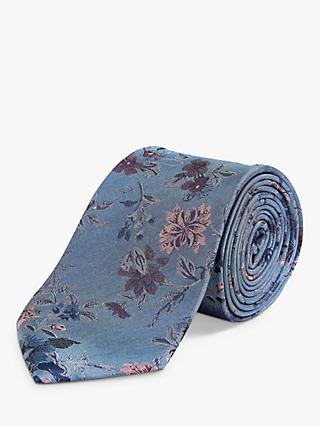 Richard James Mayfair Large Floral Silk Tie, Blue