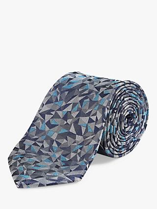 Richard James Mayfair Graphic Triangle Silk Tie, Teal