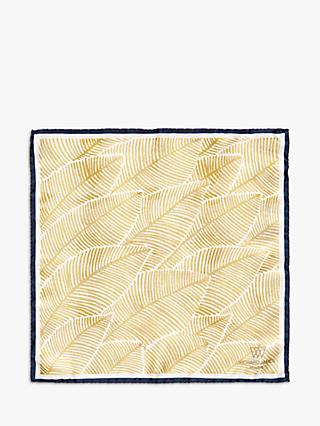 Richard James Mayfair Wash Leaves Silk Pocket Square, Gold