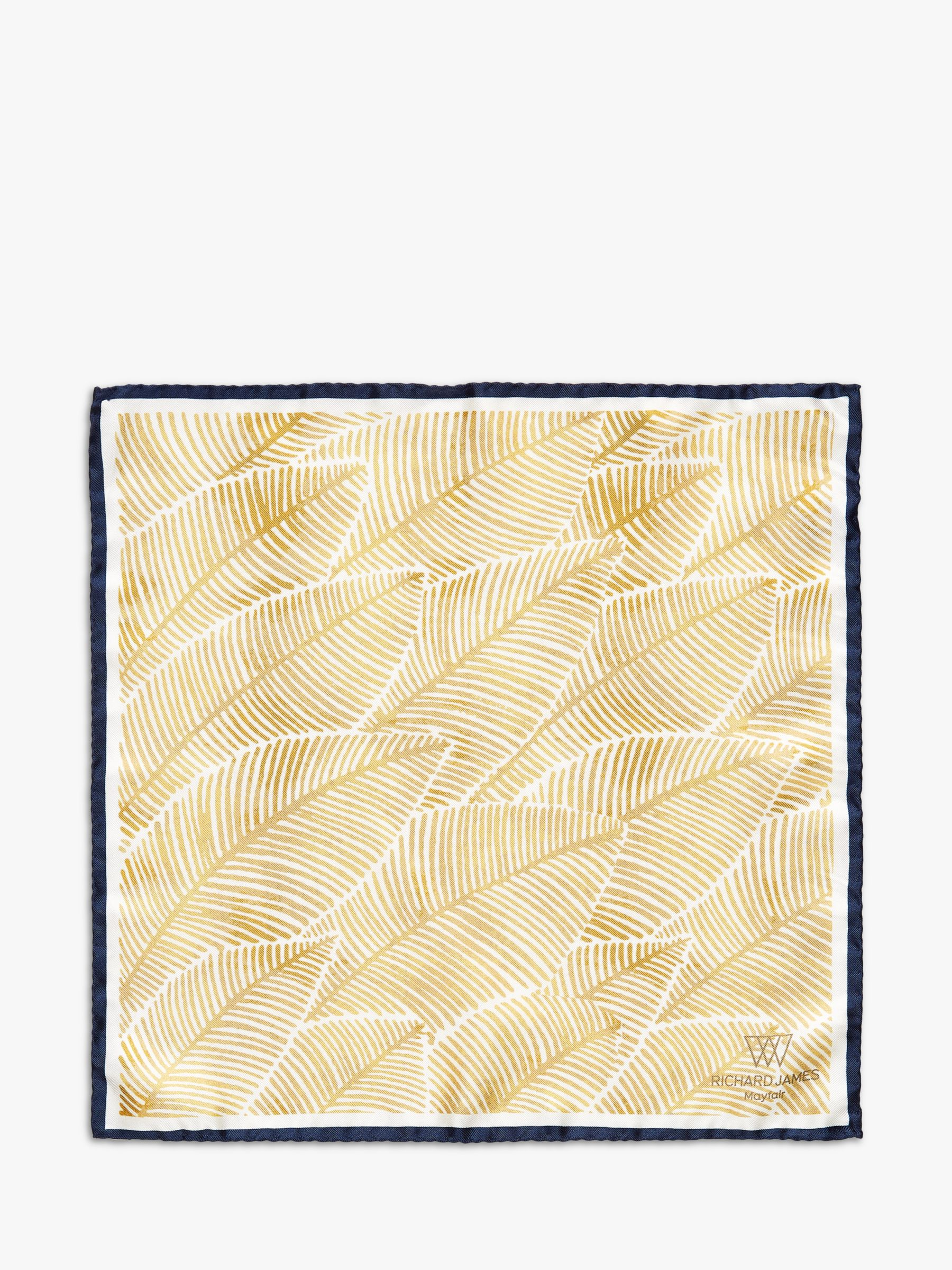 Richard James Mayfair Richard James Mayfair Wash Leaves Silk Pocket Square, Gold