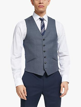 Richard James Mayfair Melange Sharkskin Tailored Waistcoat, Blue