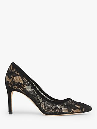 L.K.Bennett Floret Lace Pointed Court Shoes, Black