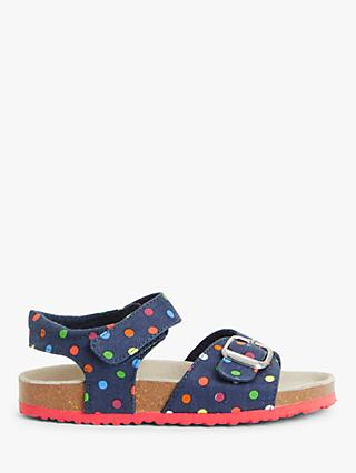 John Lewis & Partners Children's Rainbow Spot Riptape Sandals