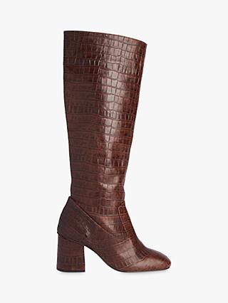Whistles Hazel Croc Leather Knee High Boots, Brown