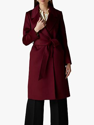 Jaeger Wrap Wool Coat, Plum