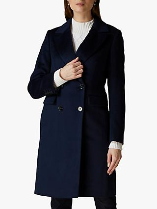 Jaeger Tailored Wool Coat, Navy