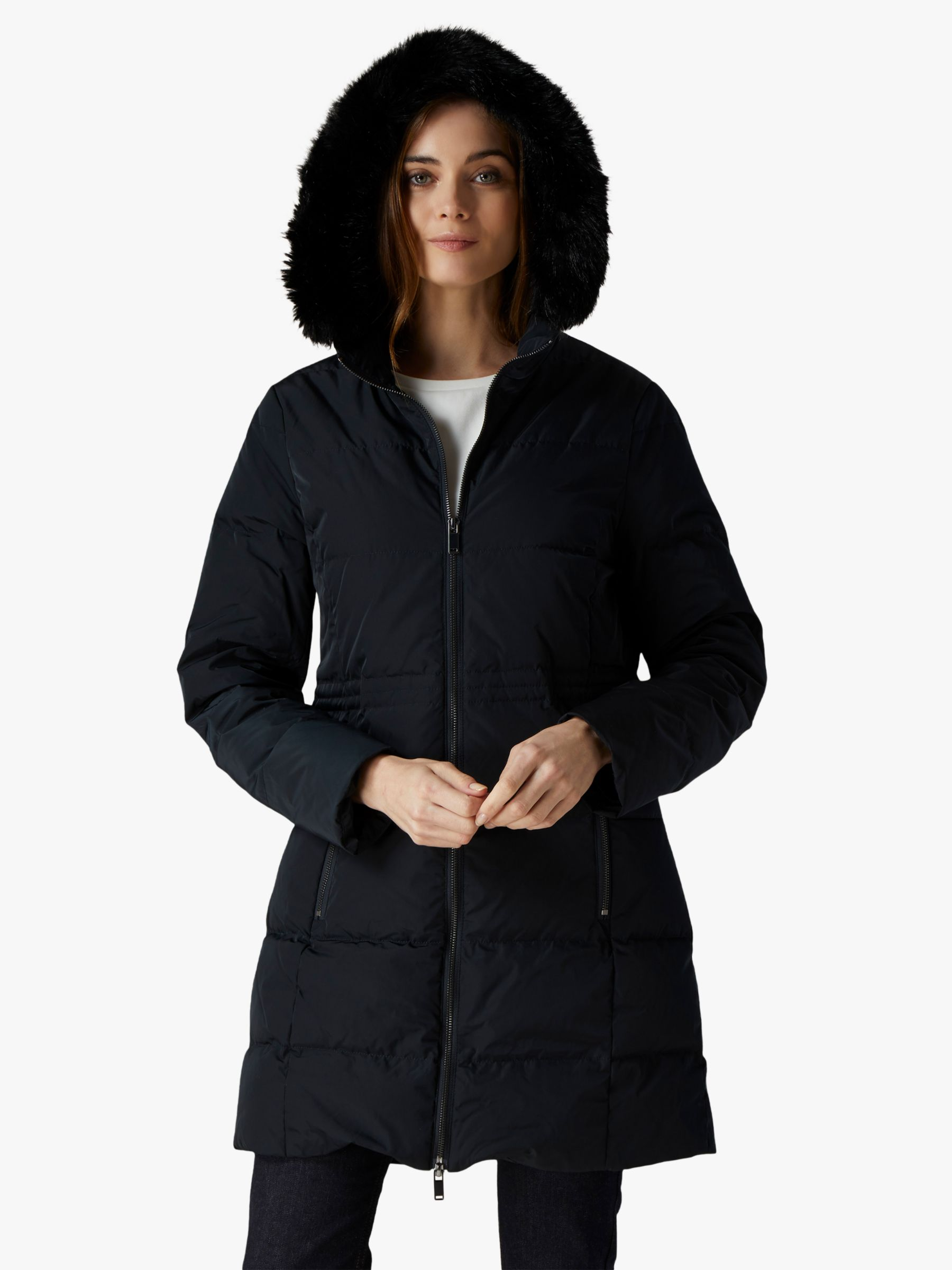Jaeger Jaeger Waisted Quilted Coat, Black