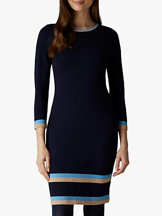 Jaeger Tipped Knitted Dress, Navy