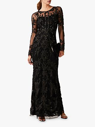 Phase Eight Contessa Tapework Sequin Maxi Dress, Black
