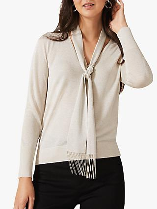 Phase Eight Liz Scarf Tie Neck Metallic Knitted Top, Natural