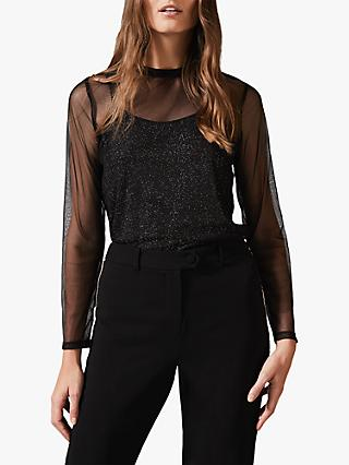 Phase Eight Nadire Metallic Mesh Top, Black