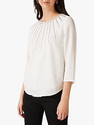Phase Eight Lyra Studded Blouse, Ivory