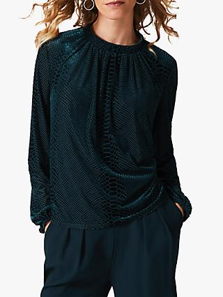 Phase Eight Sioned Snake Print Velvet Blouse, Galactic Green