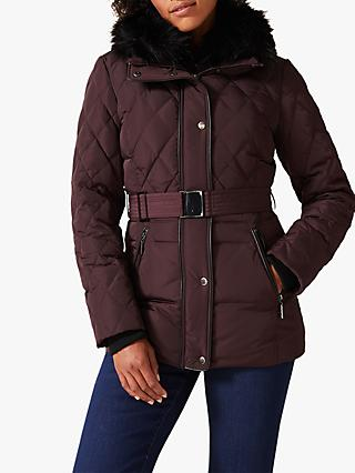 Phase Eight Deasia Short Diamond Puffer Jacket, Burgundy