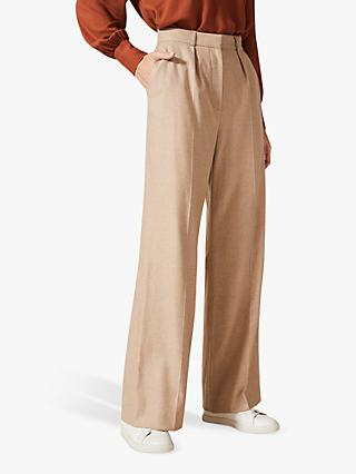 Phase Eight Ishara Flannel Wool Blend Wide-Leg Trousers