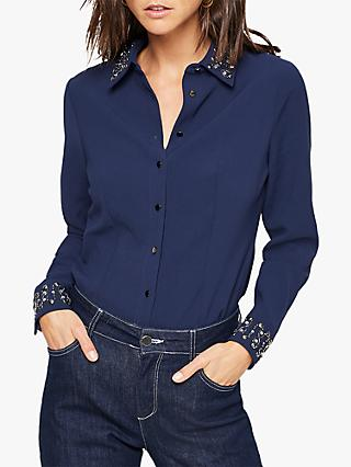 Damsel in a Dress Elsdon Embellished Shirt, Navy