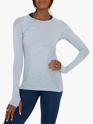 M Life Seamless Love Sleeve Yoga T-Shirt, Dusk Blue