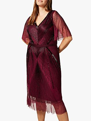 Studio 8 Natasha Beaded Dress, Berry/Black