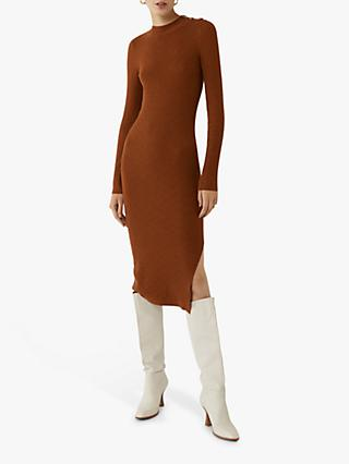 Warehouse Diamond Texture Bodycon Midi Dress, Cinnamon