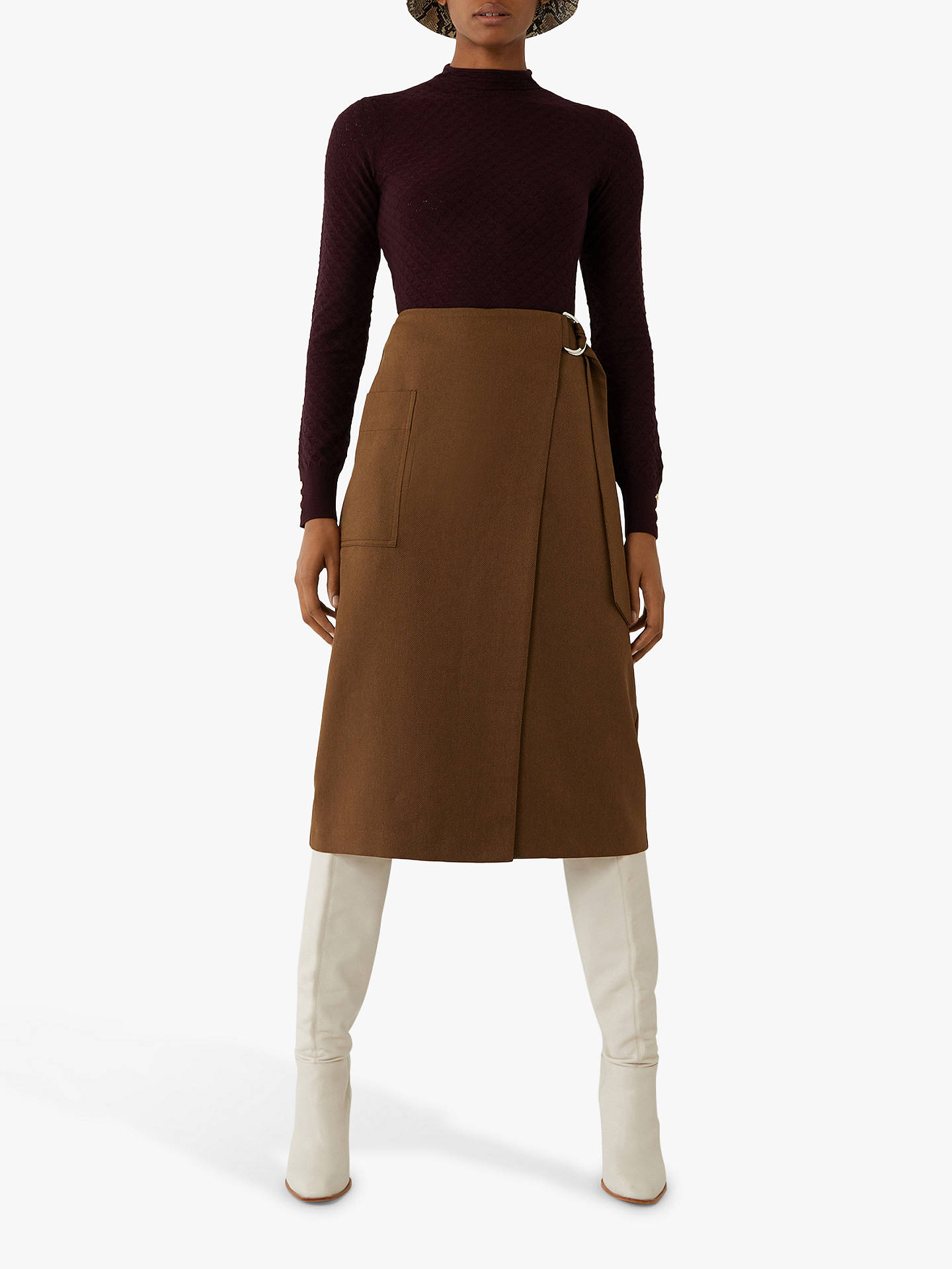 Buy Warehouse Wave Pointelle Detail Jumper, Berry, 6 Online at johnlewis.com