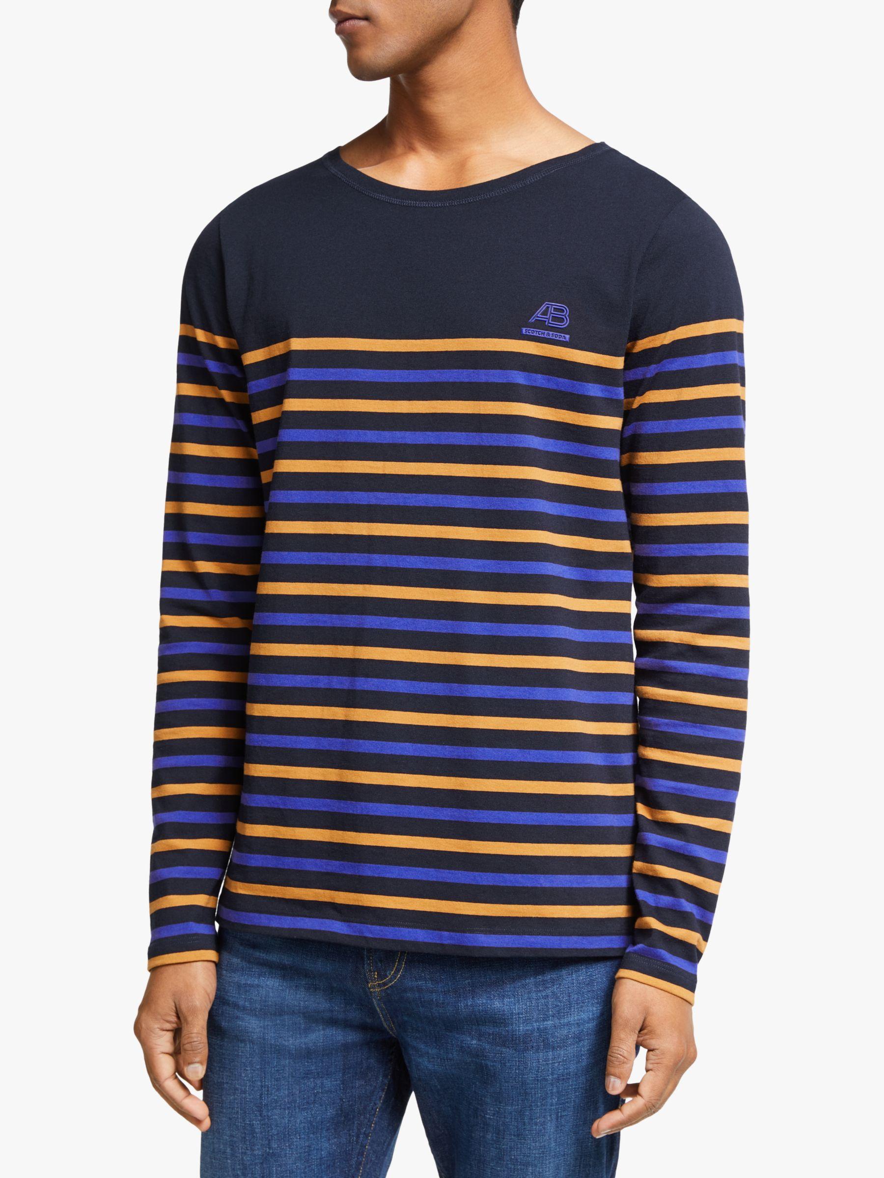 Scotch & Soda Scotch & Soda Multi Breton Stripe Long Sleeve T-Shirt, Comba A