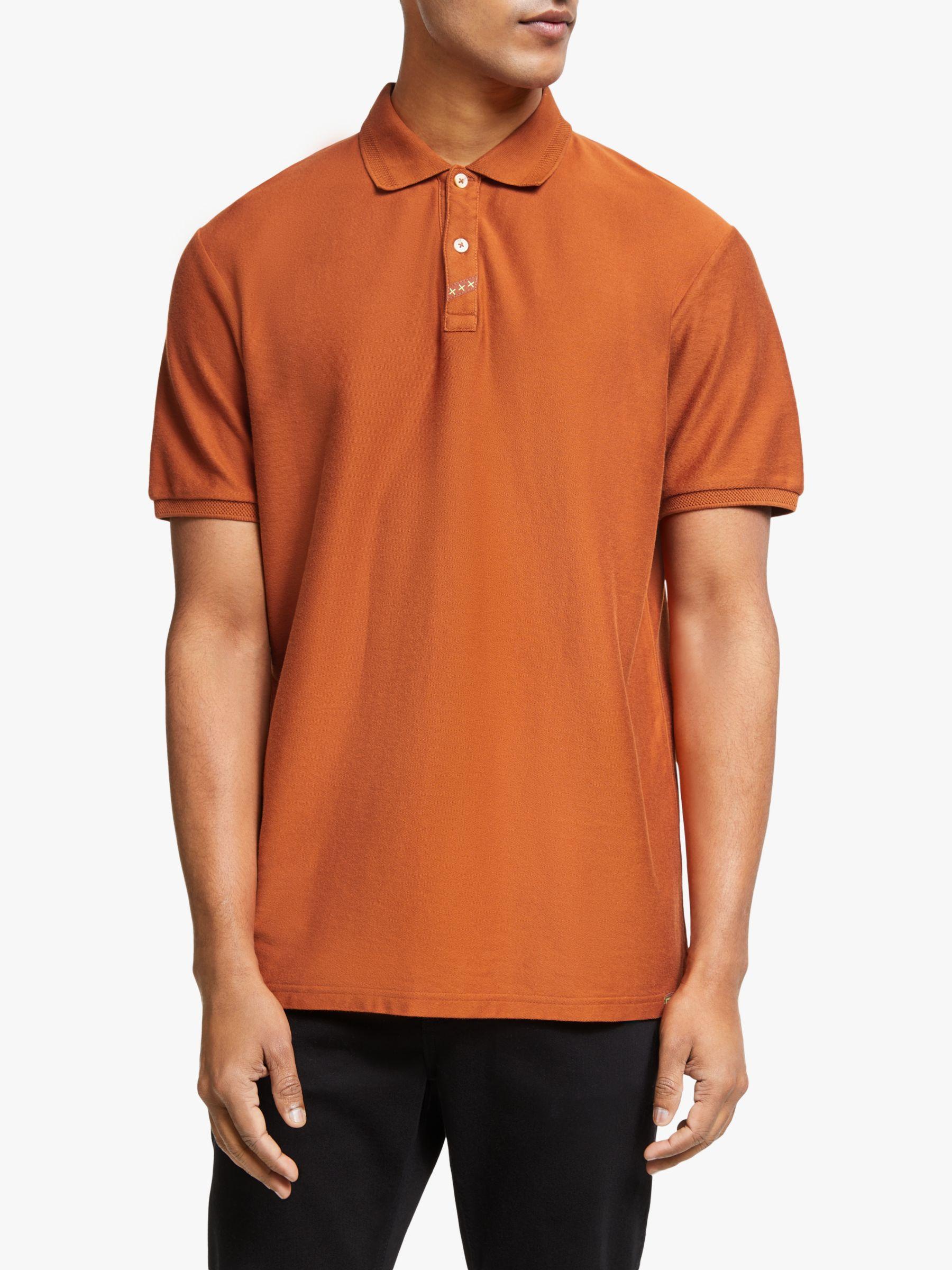 Scotch & Soda Scotch & Soda Short Sleeve Polo Shirt, Urban Rust