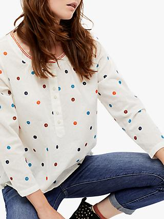 White Stuff Spin Around Spot Embroidery Top, Jasmine Cream