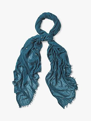 White Stuff Foil Star Dreaming Away Scarf, Savanna Teal