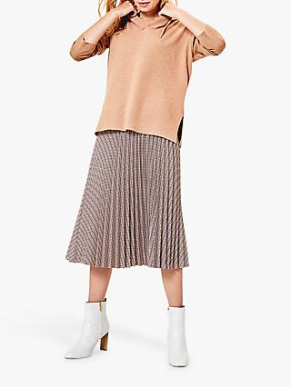 Oasis Check Midi Pleated Skirt, Multi