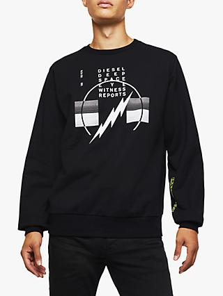 Diesel S-GIRK-J2 Lightening Print Sweatshirt, Black