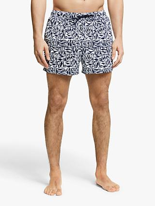 Kin Recycled Poly Wave Print Swim Shorts, Navy