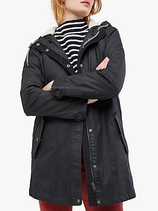 White Stuff Hayeswater Wax Parka, Charcoal Grey Plain