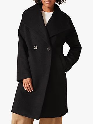 Phase Eight Beth Brushed Coat, Black