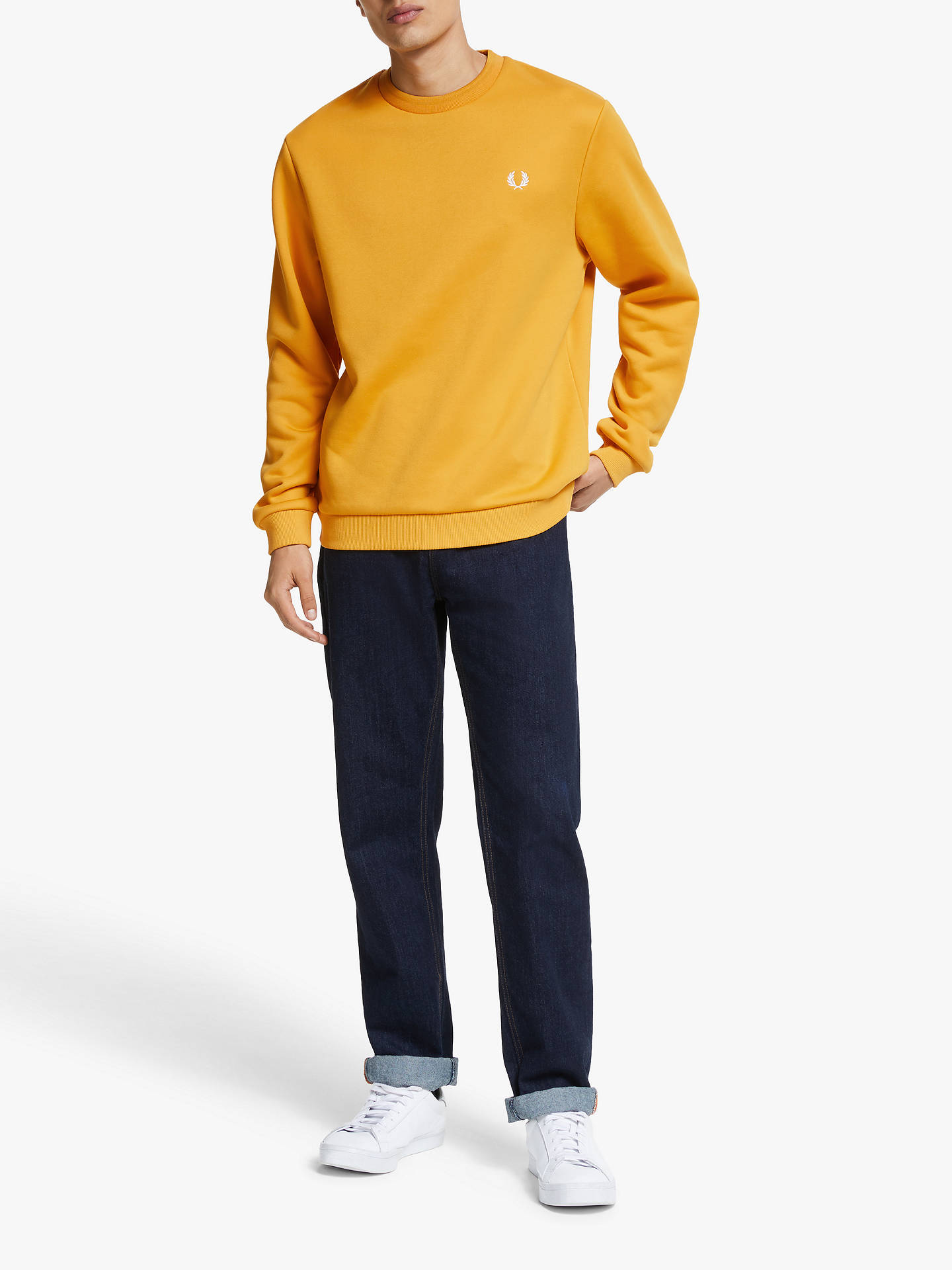 Buy Fred Perry Terry Laurel Back Sweatshirt, Gold, S Online at johnlewis.com