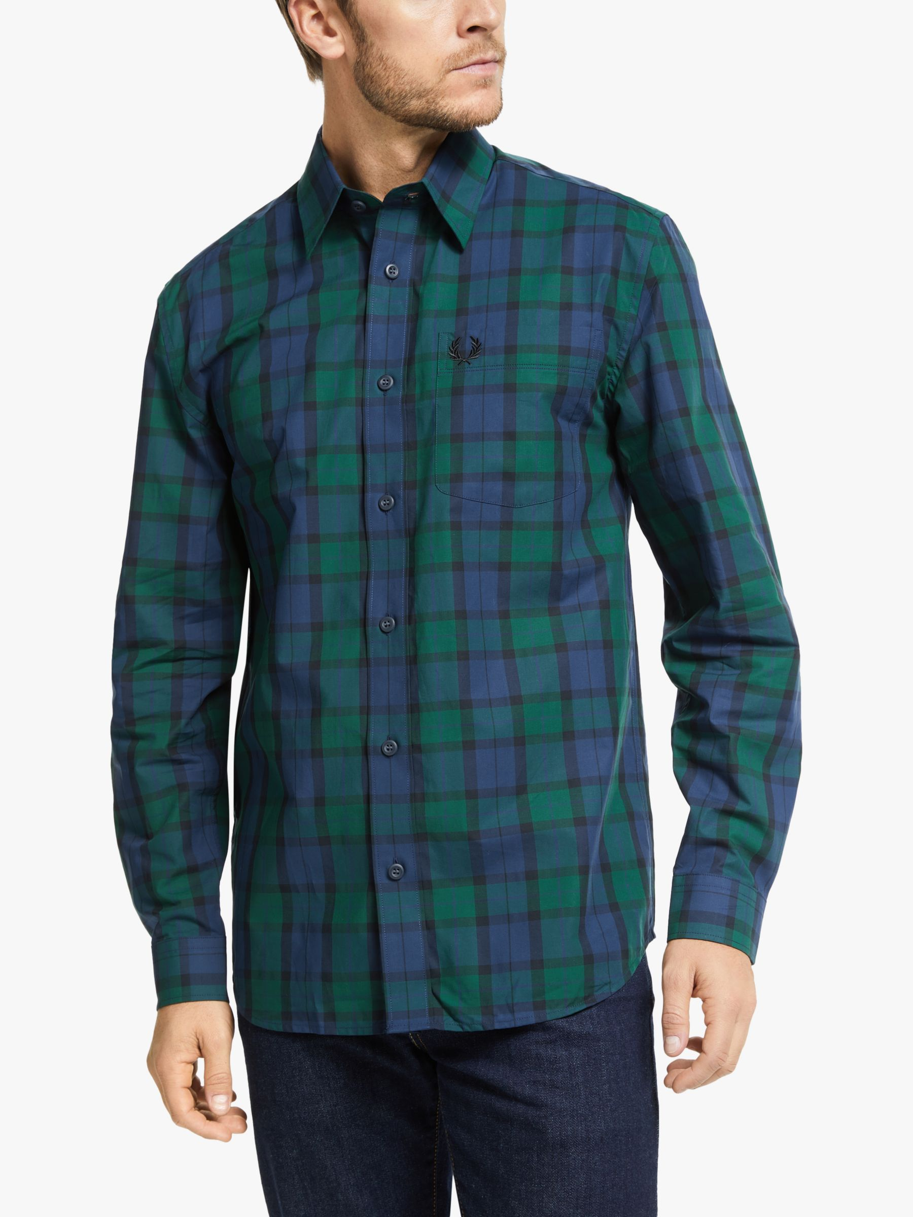 Fred Perry Fred Perry Tartan Long Sleeve Shirt, Green