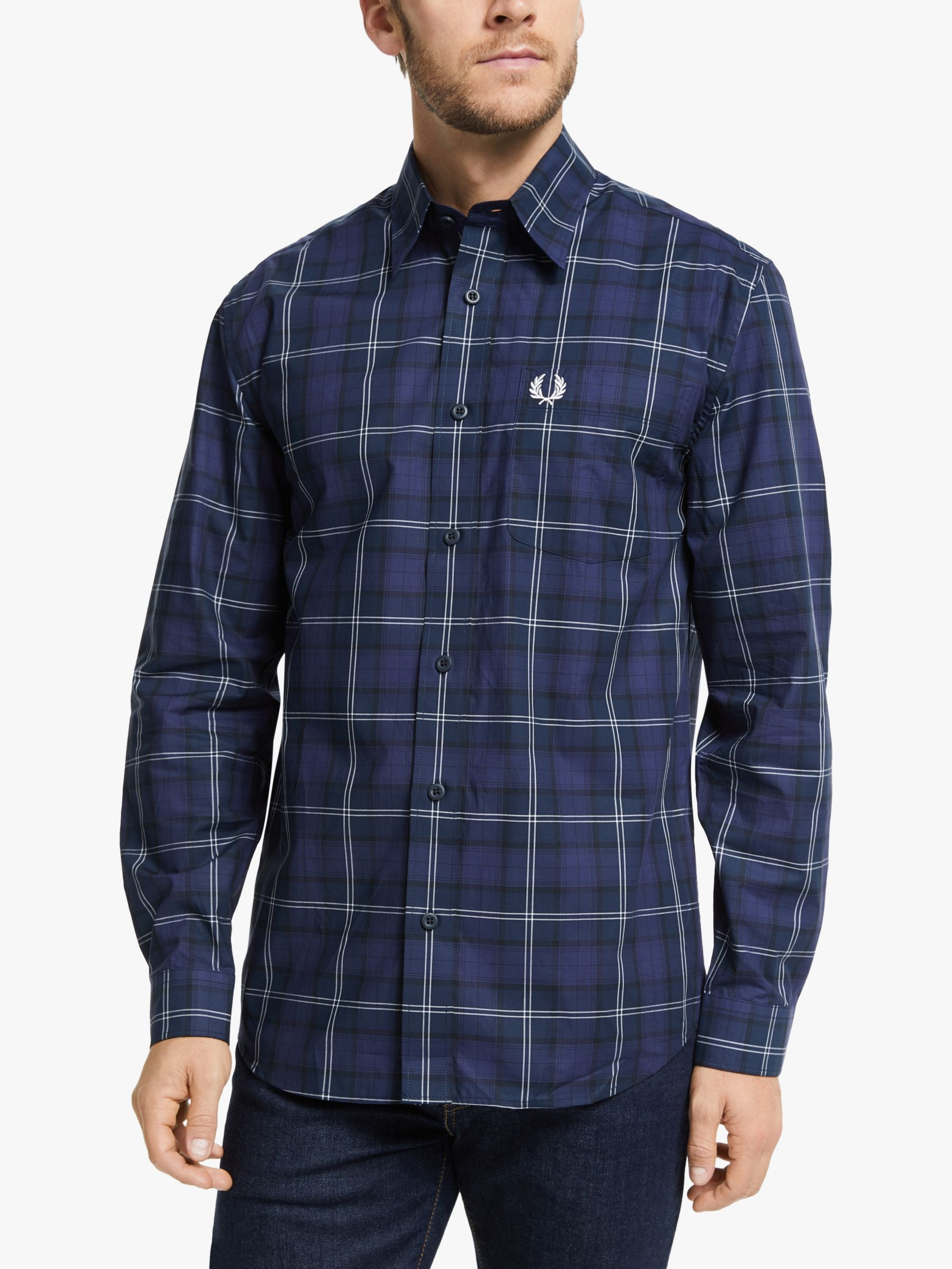 Fred Perry Fred Perry Tartan Long Sleeve Shirt, Medieval Blue