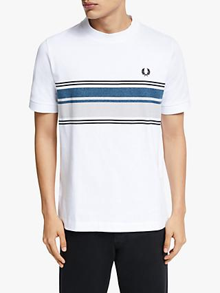 Fred Perry Marl Stripe Crew Neck T-Shirt, White