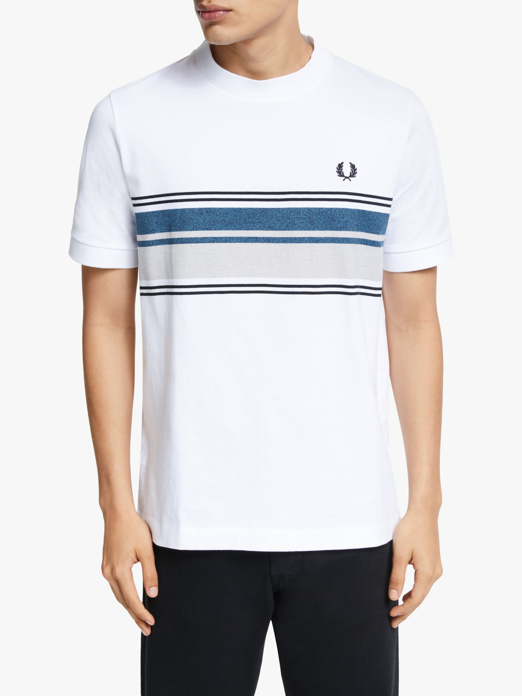 Fred Perry Fred Perry Marl Stripe Crew Neck T-Shirt, White