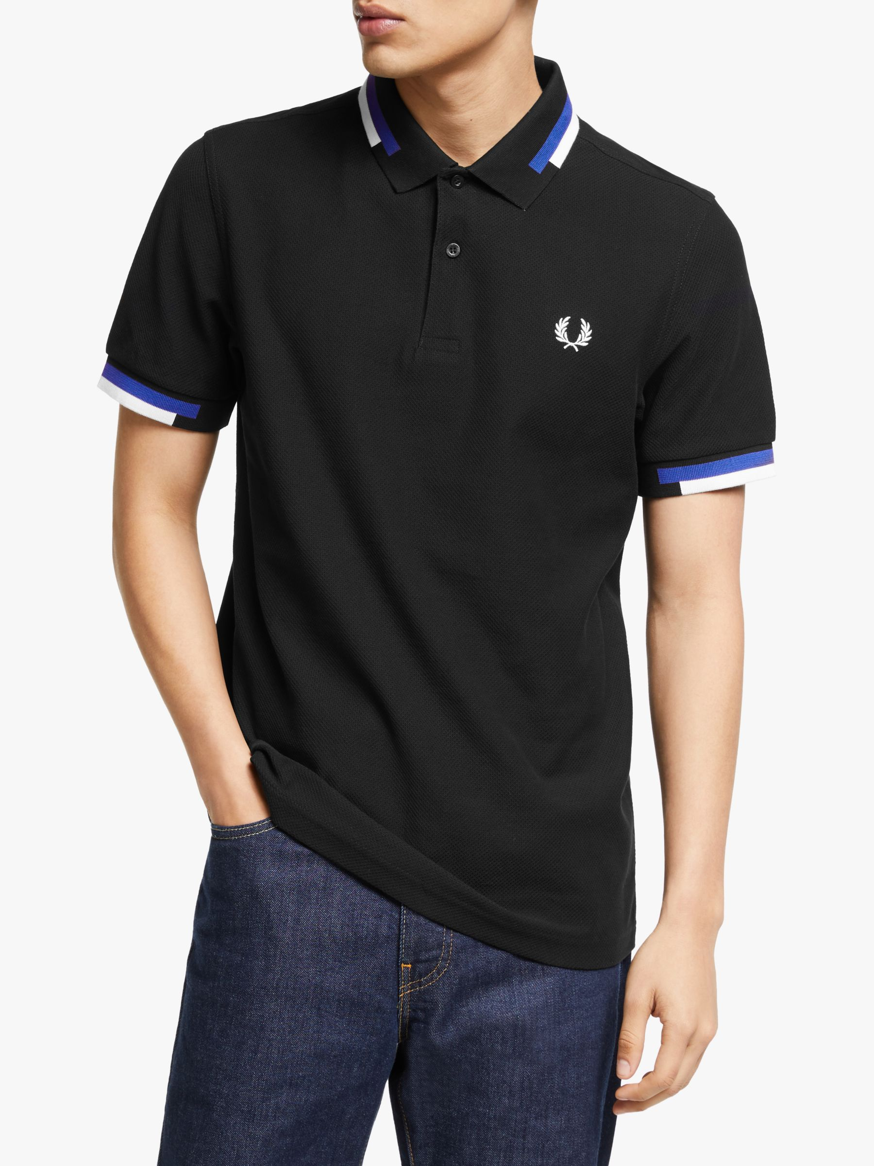 Fred Perry Fred Perry Abstract Block Tipped Polo Shirt, Black