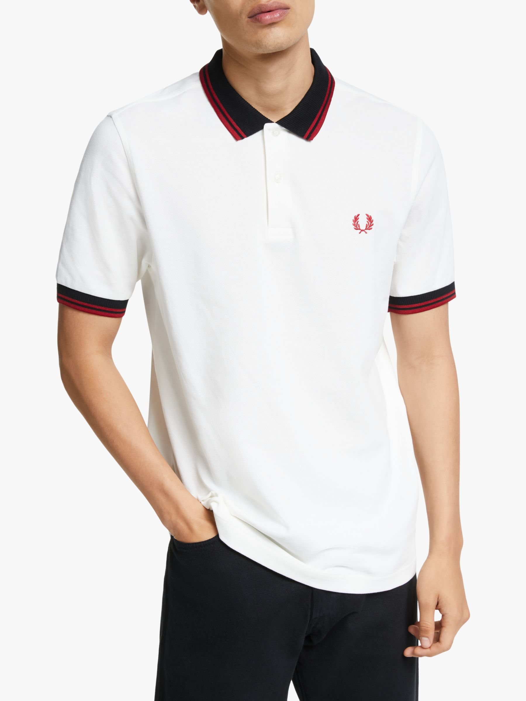 Fred Perry Fred Perry Colour Block Polo Shirt, Snow White