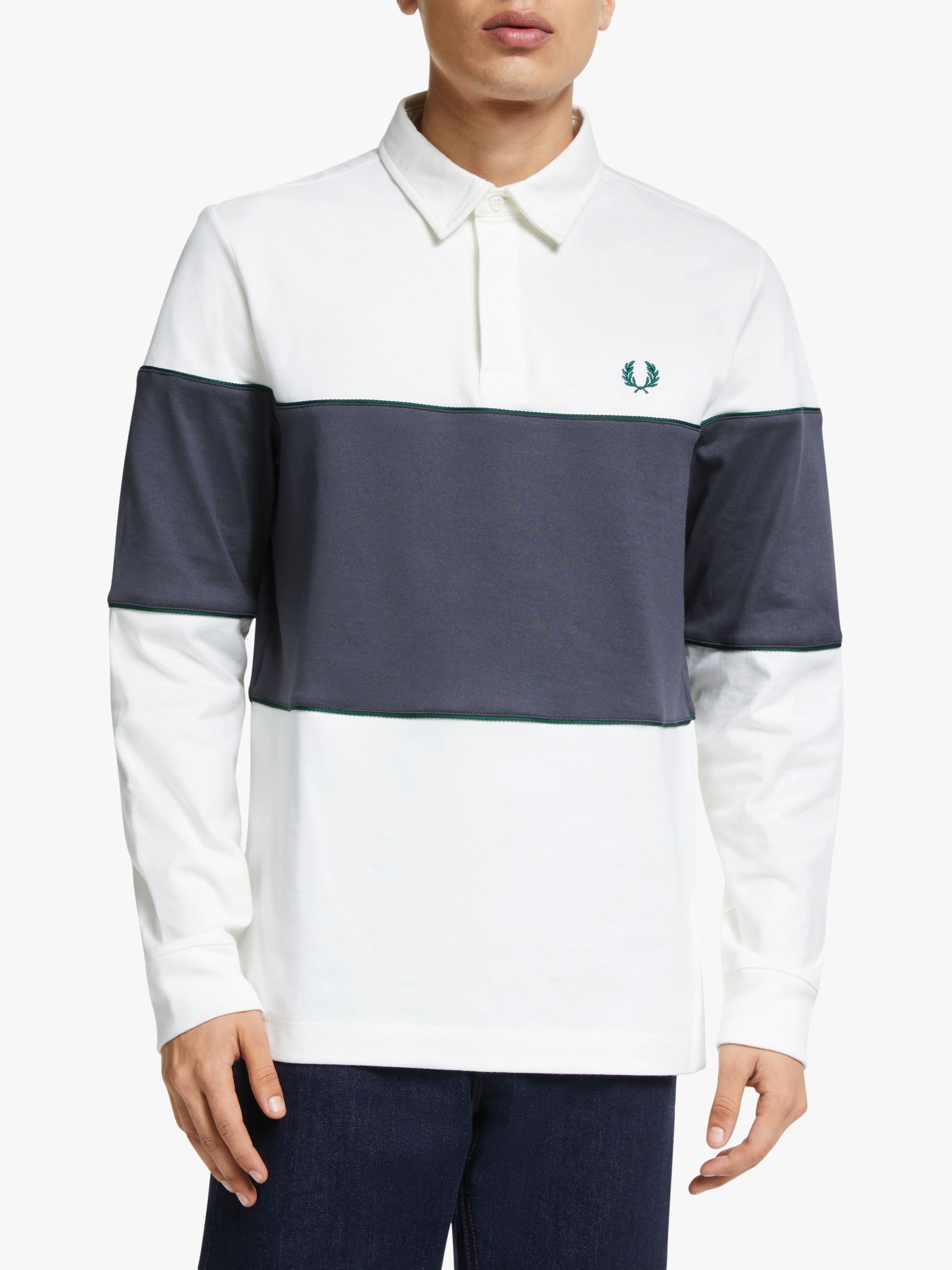 Fred Perry Fred Perry Panelled Long Sleeve Polo Shirt, Snow White