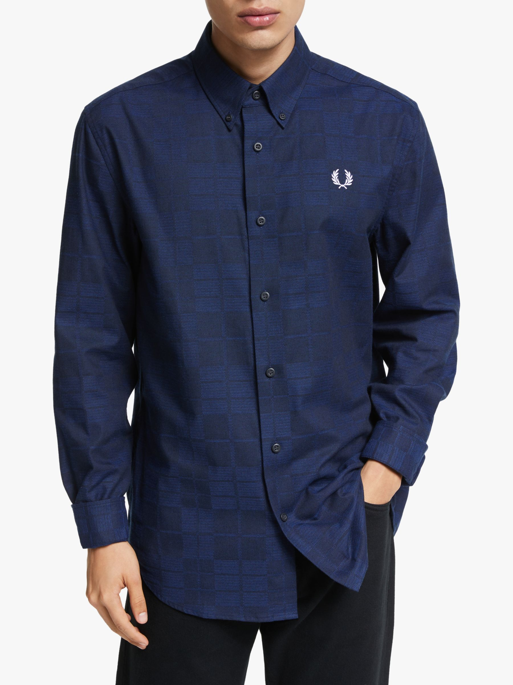 Fred Perry Fred Perry Tonal Tartan Long Sleeve Shirt, Bright Blue