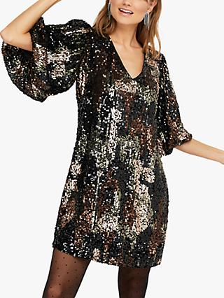 Monsoon Carmen Sequin Embellished Camo Dress, Black