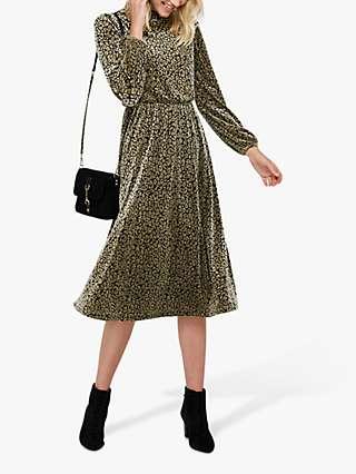 Monsoon Kylie Leopard Velvet Devore Midi Dress, Stone