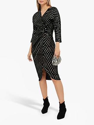 Monsoon Kourtney Gold Sport Velvet Midi Dress, Black