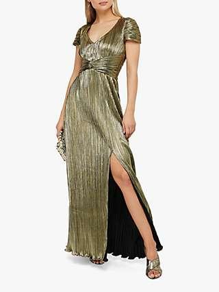 Monsoon Loreen Knot Front Maxi Dress, Gold