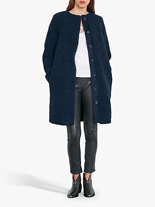 hush Teddy Longline Coat, Navy