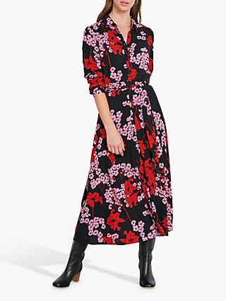 hush Sophie Floral Midi Shirt Dress, Blossom