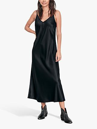 hush Satin Slip Dress, Midnight