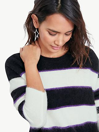 hush Brigitte Stripe Jumper, Black/White/Purple